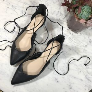 Nine West Black Leather Ankle Lace Up Kitten Flats